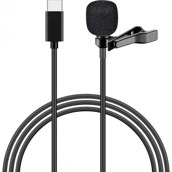 POWERTECH μικρόφωνο CAB-UC048 με ενσωματωμένο clip-on, USB Type-C, μαύρο Καλώδια Εικόνας-Ήχου